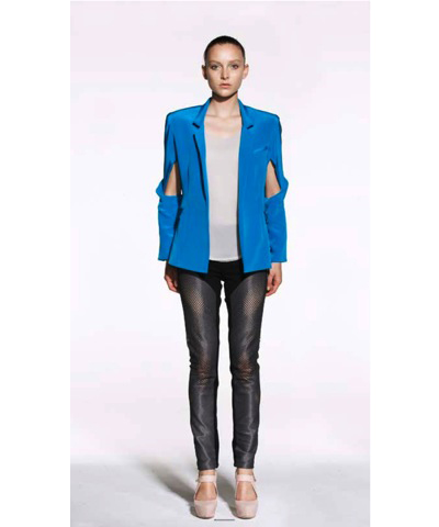 DION LEE SILK BLAZER WITH SLEEVE TWIST $890