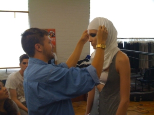 We decided to use a hijab for the 2010 Spring/Summer shoot.  We were all trying to figure out how to put one on.  Finally figured it out using Youtube....